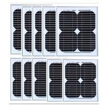 Monocrystalline Panel 12v 10w 10Pcs Hiking Solar Panels 100w Charger Smartphone Car Battery LED Lamp Light