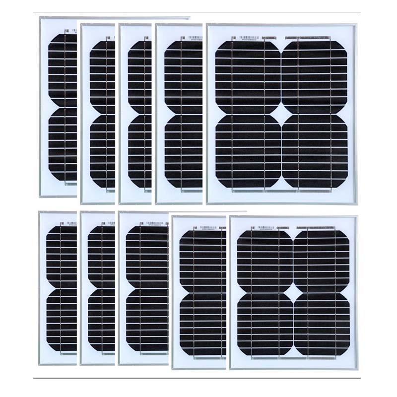 Monocrystalline Panel 12v 10w 10Pcs Hiking Solar Panels 100w Charger Solar Smartphone 12v Solar Car Battery LED Lamp Light