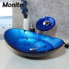 Monite синий умывальник для ванной комнаты столешница из закаленного стекла Раковина кран Набор латунный водопад кран Санузел судно туалетный бар