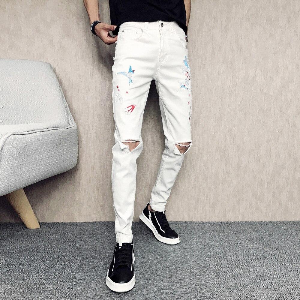 Hot Sale Jeans Men Korean Slim Fit Casual Denim Mens Pants Embroidery Hole Men Skinny Jeans White Streetwear Hip Hop Trousers 34