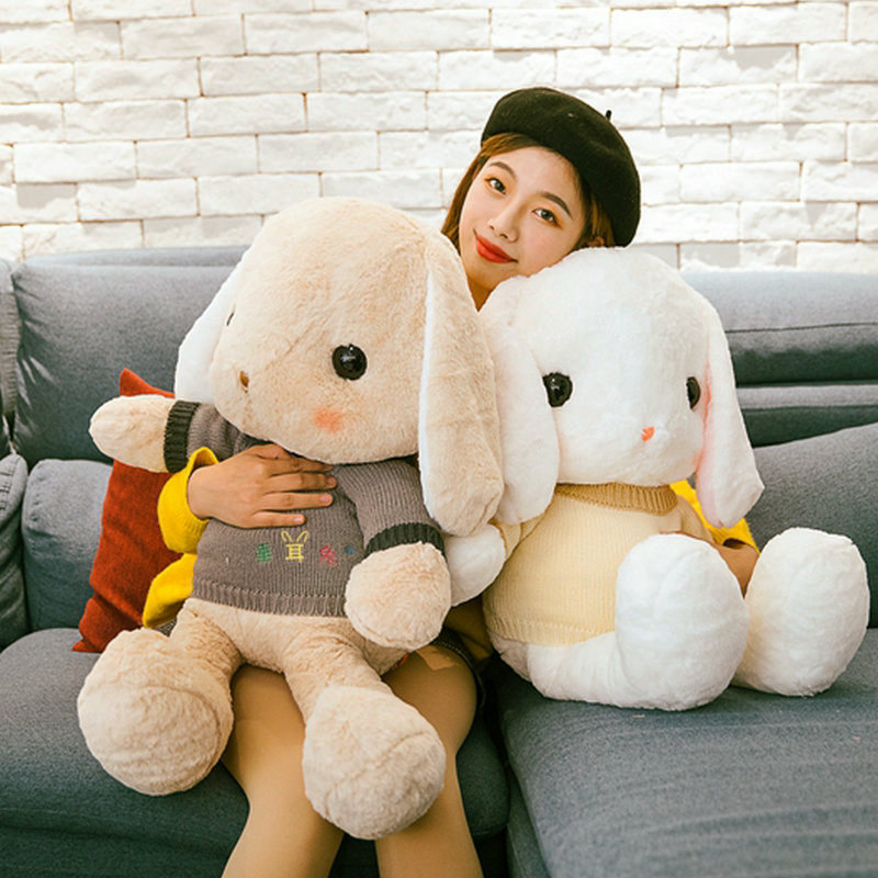 Большие подвесные ушки кролики с свитерами плюшевые игрушки милая Кукла Кролик мягкая подушка в виде животного детский подарок на день рож...