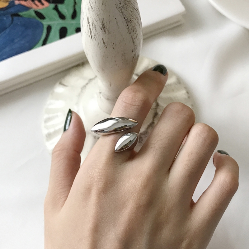 S925 Geometric Surface Smooth Simple Leaf Ring Big Punk Open Ring White Gold Color In 925 Sterling Silver Jewelry