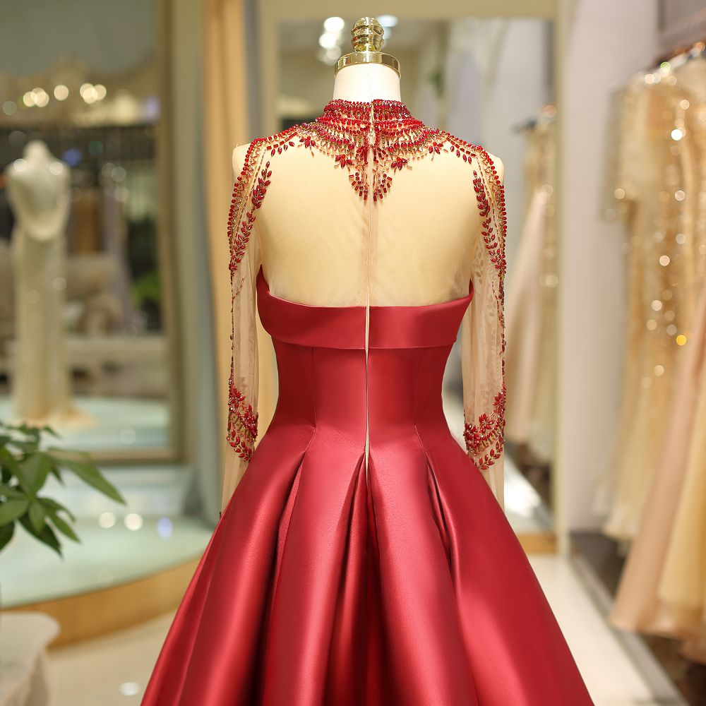 Evening Dresses Long sleeves red crystals Flower luxury prom gown satin fabric women Formal Party Evening Dresses Dress in Evening Dresses from Weddings Events