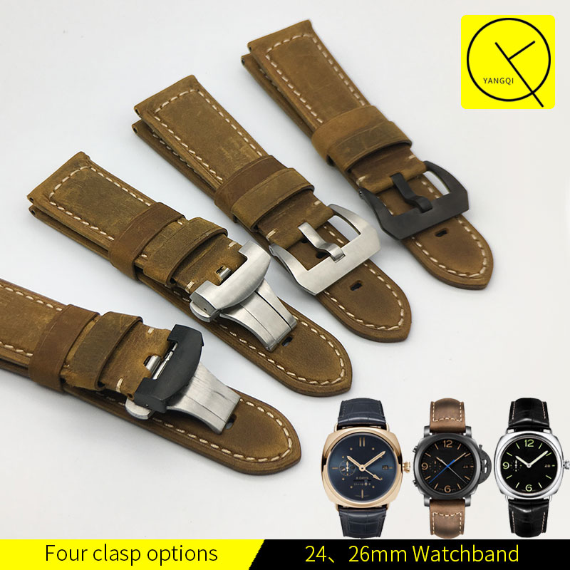 YQ 24mm 26mm Vintage Calf Genuine Leather Watch Band Handmade Strap Strap for Panerai Watch PAM00441 PAM00386 PAM00580 PAM00661 все цены