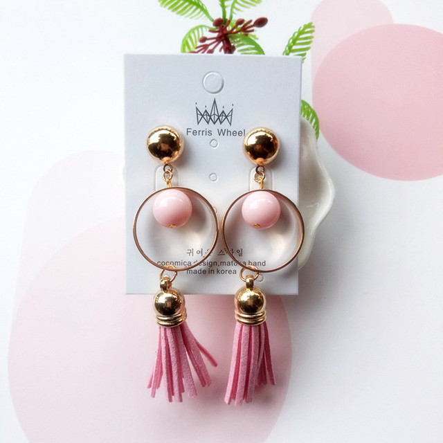 Fashion Korean Style Leather Tels Acrylic Beads Circle Drop Earrings Bohemian Long Dangle Black Pink