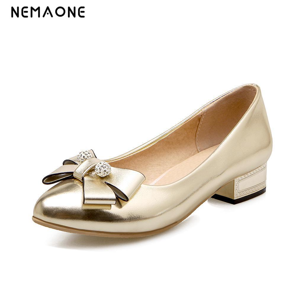 NEMAONE Big Size 34-43 Fashion Pointed toe Bowtie Pumps Low Square Heels Shoes Spring Summer Shoes Women Pumps Women Shoes platform pumps fashion 2015 new shoes pumps pointed toe women pumps bowtie party slip on spool heels size 34 43