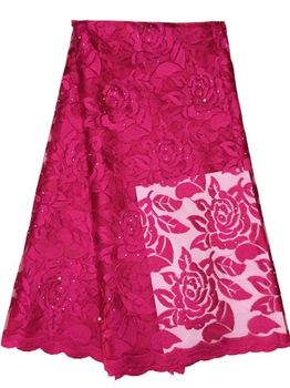 New Embroidered chemical guipure African lace fabric with rhinestone Rose-carmine cheap price french net lace for wedding dress