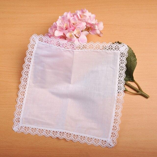 1 cái Cá Nhân trắng ren khăn tay, người phụ nữ quà tặng đám cưới, trang trí đám cưới khăn ăn vải 25*25 cm