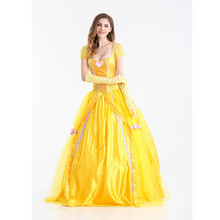 Beauty and Beast Princess Yellow Polyester Dress For Girls