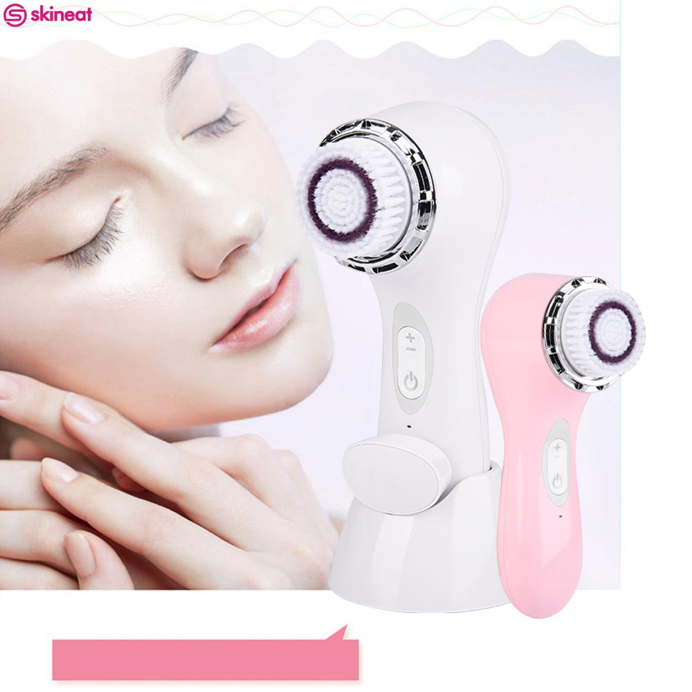 2017 Skineat Skin Care Facial Brush Ultrasonic Cleansing Massager Brushes Pinceis Whitening Oil Control Electric Facial Cleanser deep face cleansing brush facial cleanser 2 speeds electric face wash machine