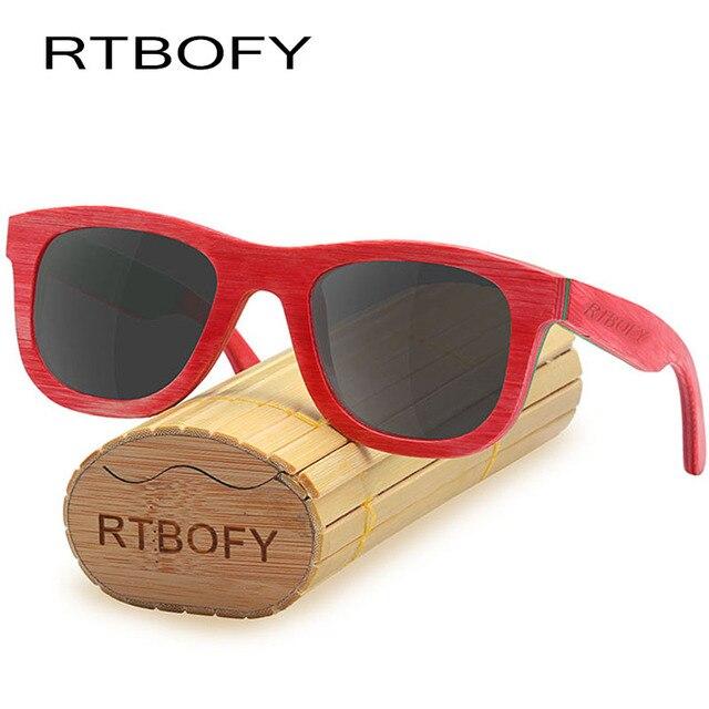 95b0c28c2 RTBOFY Madeira Óculos De Sol Dos Homens Polarizados Óculos De Sol De Madeira  Do Skate UV400
