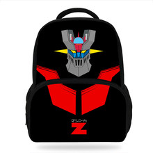 New Cartoon Mazinger Z Design Backpack Character Cute Pattern Kids Book Bags Boys School Backpacks Kindergarten Bag 3D(China)