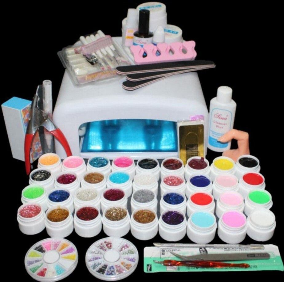 Nouveau Pro 36 W GEL UV lampe blanche et 36 couleurs Gel UV outils dart des ongles Kit de vernisNouveau Pro 36 W GEL UV lampe blanche et 36 couleurs Gel UV outils dart des ongles Kit de vernis