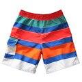 Горячие Продаж 2017 летние мальчики совета шорты мода контрастность цвет полосатый распечатать повседневная мальчиков пляжные шорты, шорты для мальчиков