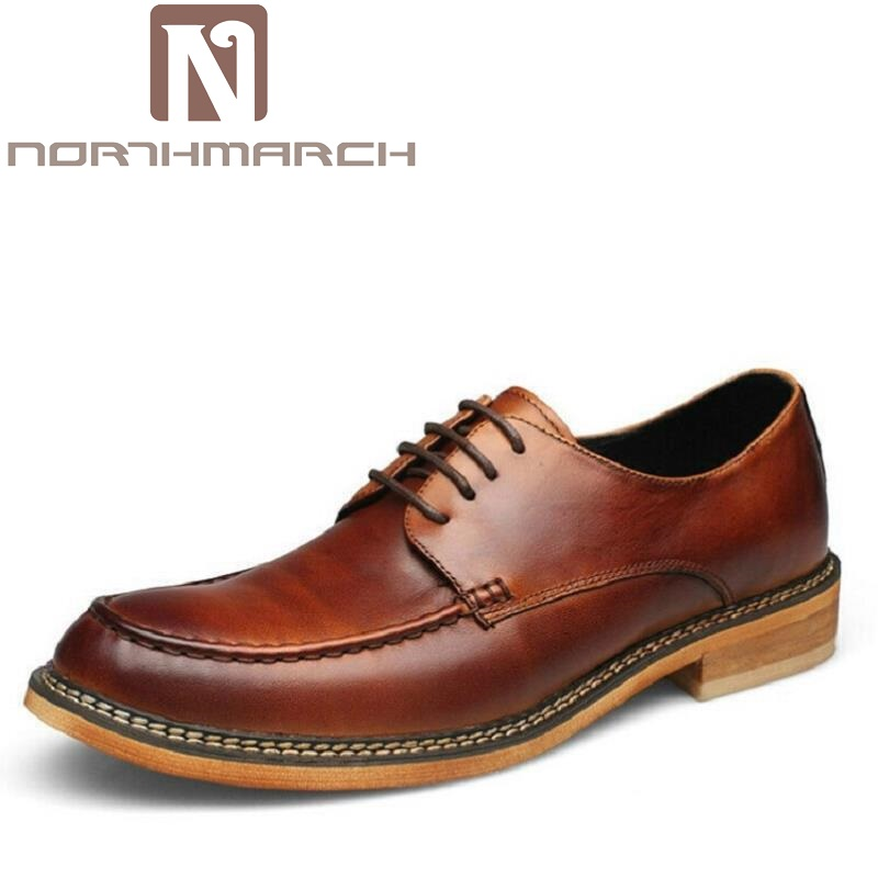 NORTHMARCH Square Toe Gentlemen Leather Shoes Trendy Business Lace up British Fashion Men's Dress Shoes Sapato Masculino italians gentlemen пиджак