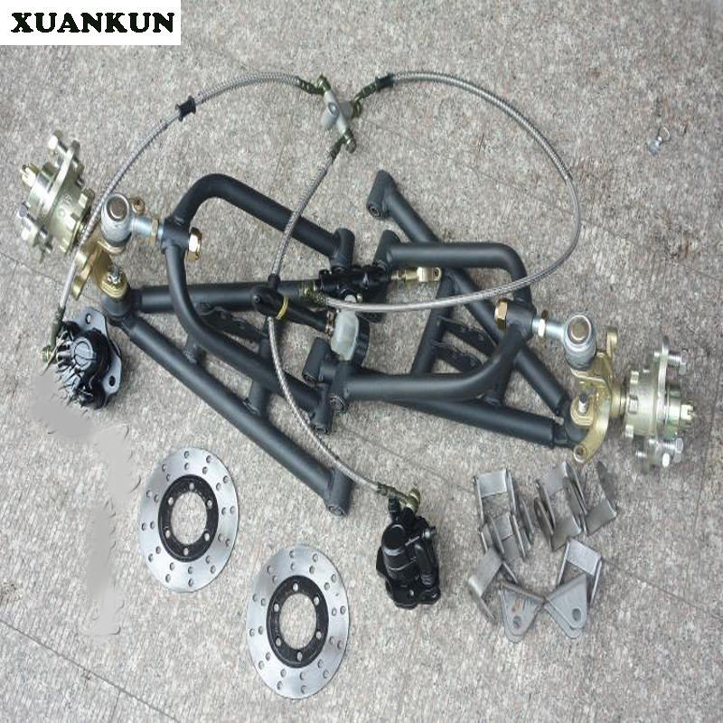 XUANKUN Beach Car Self - Made Four - Round Karting Modified Front Suspension Pendulum Flange Brake System xuankun modified four wheel electric motorcycle self made karting accessories front suspension rocker steering brake system