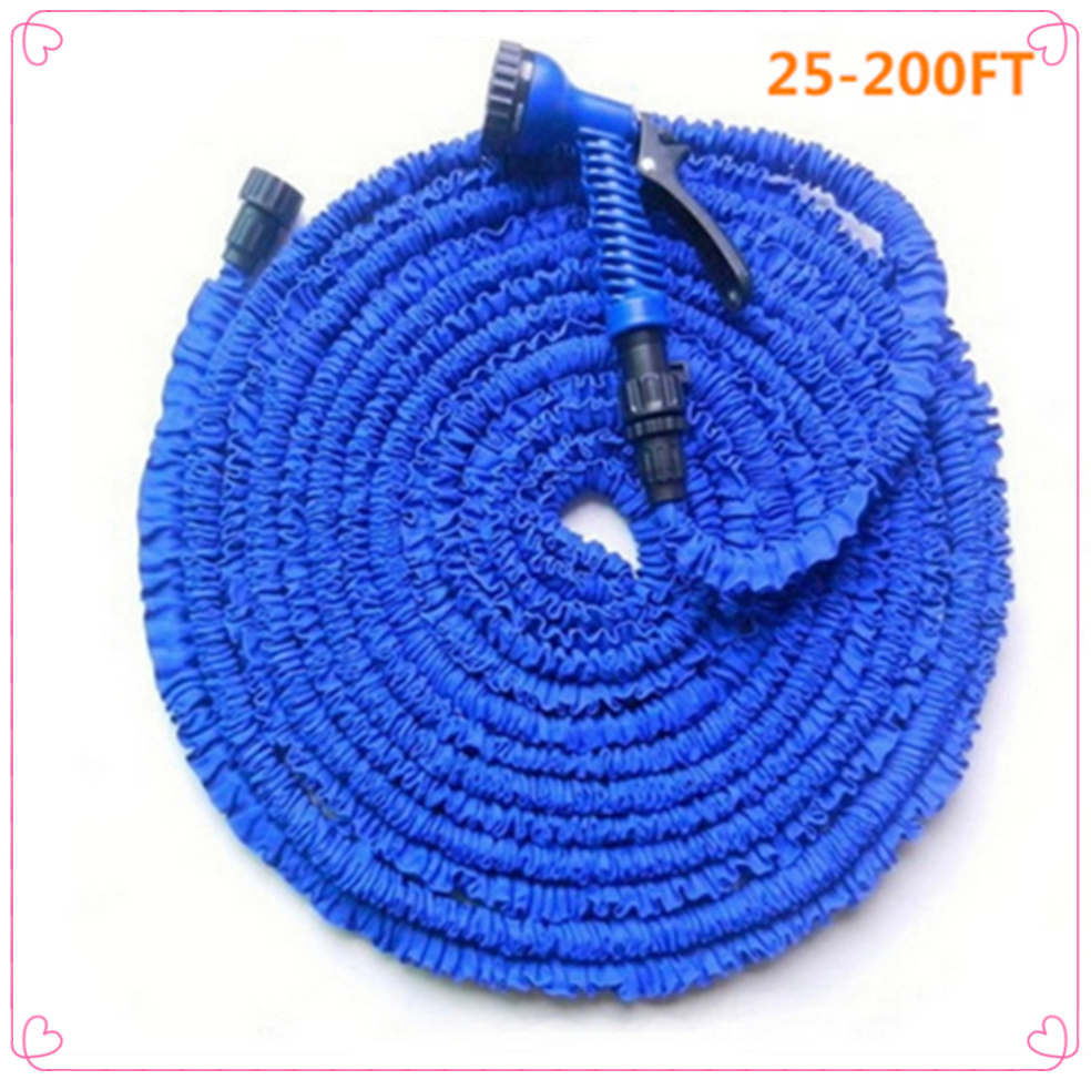 Hot Car Magic flexible hose Expandable Garden Hose reels garden water hose for watering connector Blue Green 25-200FT