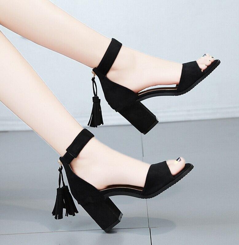 Fashion tassel Summer Women Sandals Open Toe sandalias Womens Sandles Thick Heel Women Gladiator Shoes Elegant female pump