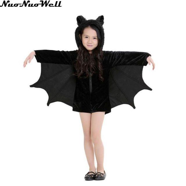 Halloween Children Vampire Costume Black Evil Bat Woman s Jumpsuit  Masquerade Carnival Girl s Cute Role Playing Vampire Dress 16dac8bc0602
