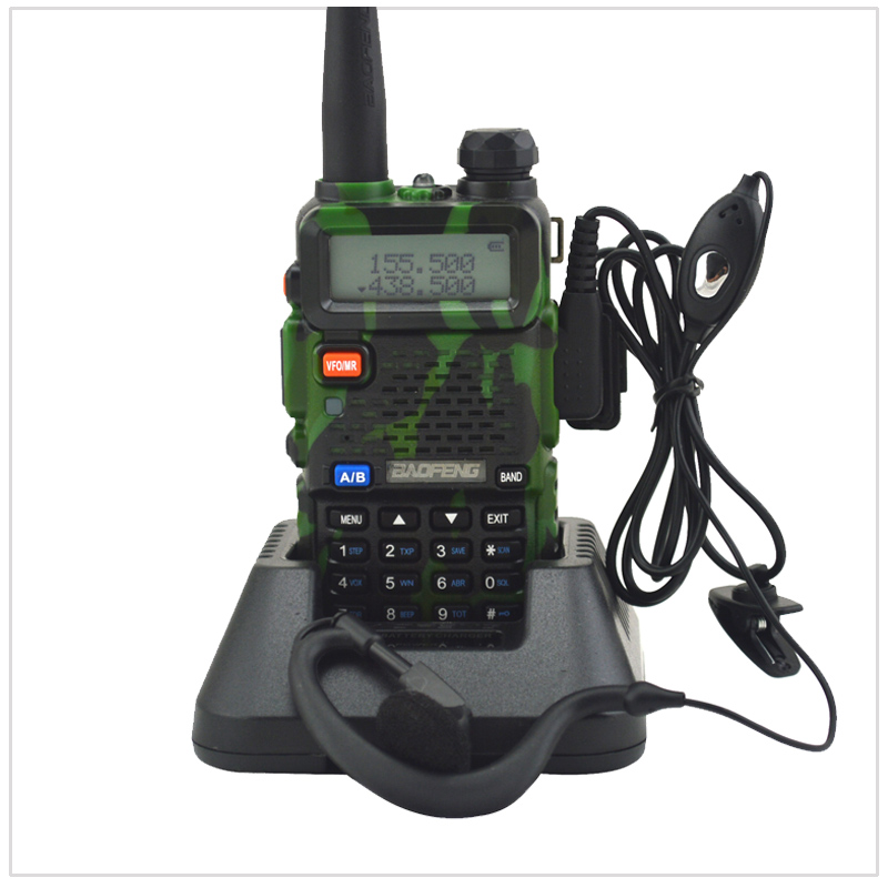 Camouflage baofeng Radio dualband UV-5R walkie talkie dual display 136-174/400-520MHz two way radio with free earpiece BF-UV5R