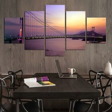 Frame Living Room Wall Art HD Printed Pictures 5 PiecePcs Bridge Dusk Landscape Modern Painting On Canvas Home Decor Posters