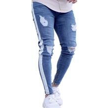 Jeans for Men Designer Distressed Stretch Jeans Blue Skinny Jeans Ripped Slim Fit for Guys Plus Size Fashion Hip Hop цена