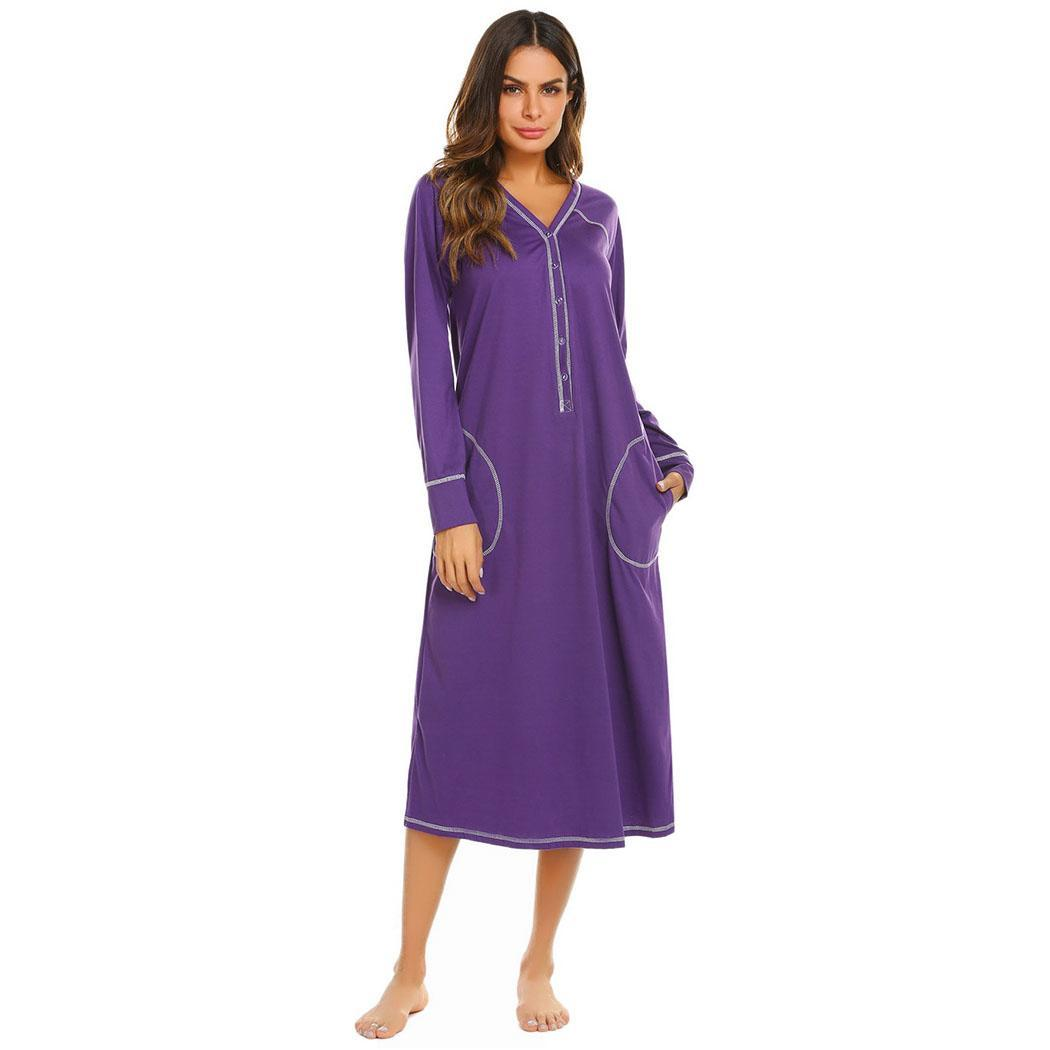 Ekouaer Women   Nightgown   Long Nightdress V-Neck Long Sleeve Loose Sleepwear Nightdress Autumn Winter   Sleepshirts   Night Dress