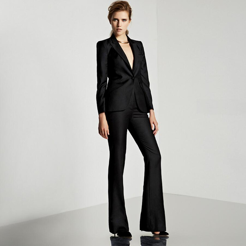 Women Pant Suits Custom Made Black Female Suit Office Ladies Formal Business Work Wear (Jacket+Pants)