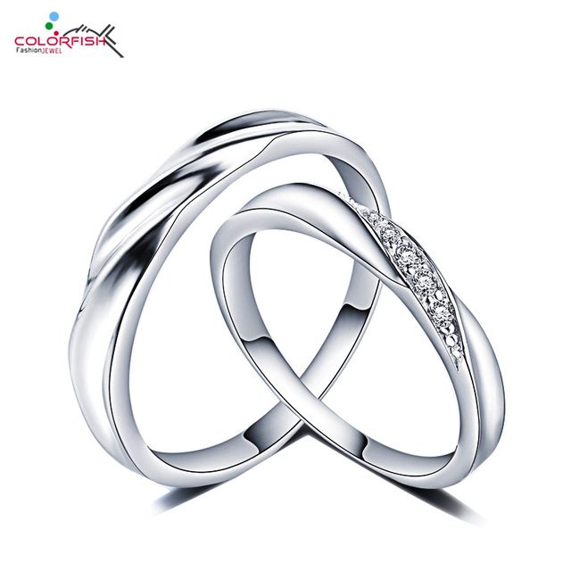 Colorfish Sterling Silver Wedding Rings Pair For Women Men Micro