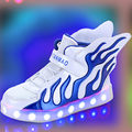 2017 Hot new Boys Girls USB Charger led Children Shoes with Light Kids Wing Flashing Lighted Luminous chaussure Sneakers tx0272