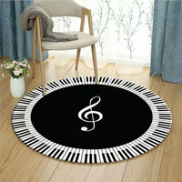 Black White Modern Floor Rug Mats Piano Noted Round Living Room Decoration Carpet Geometry Style Rugs Decoration