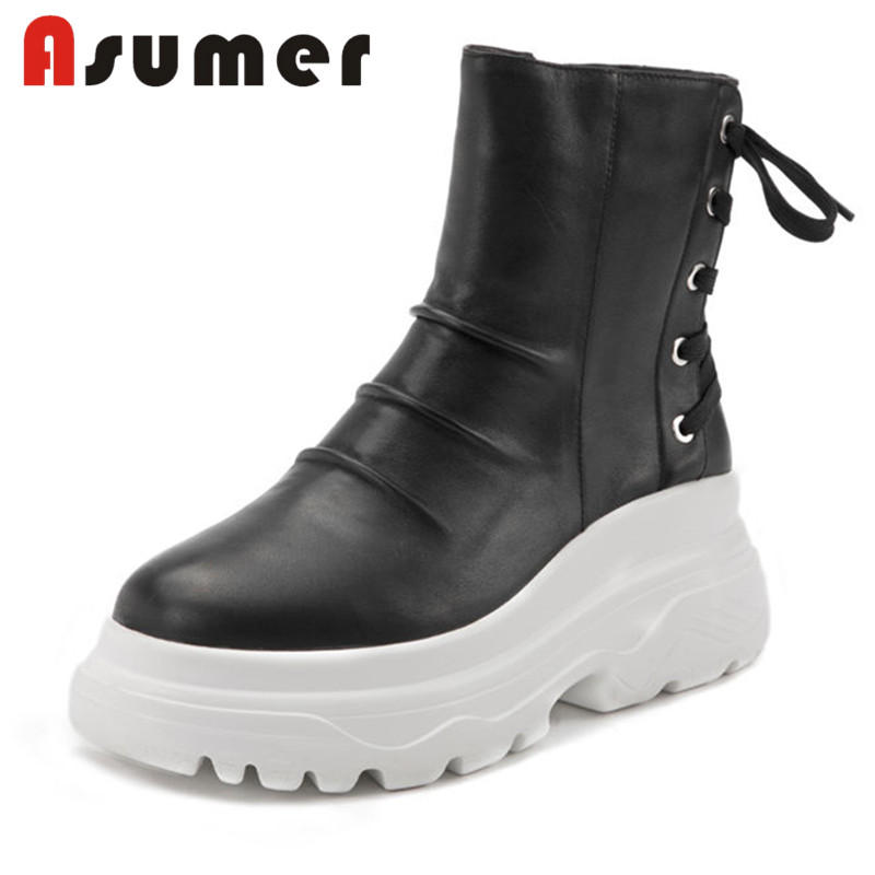 ASUMER NEW 2018 cross tied ankle boots for women solid comfotable daily winter boots round toe wedge genuine leather boots