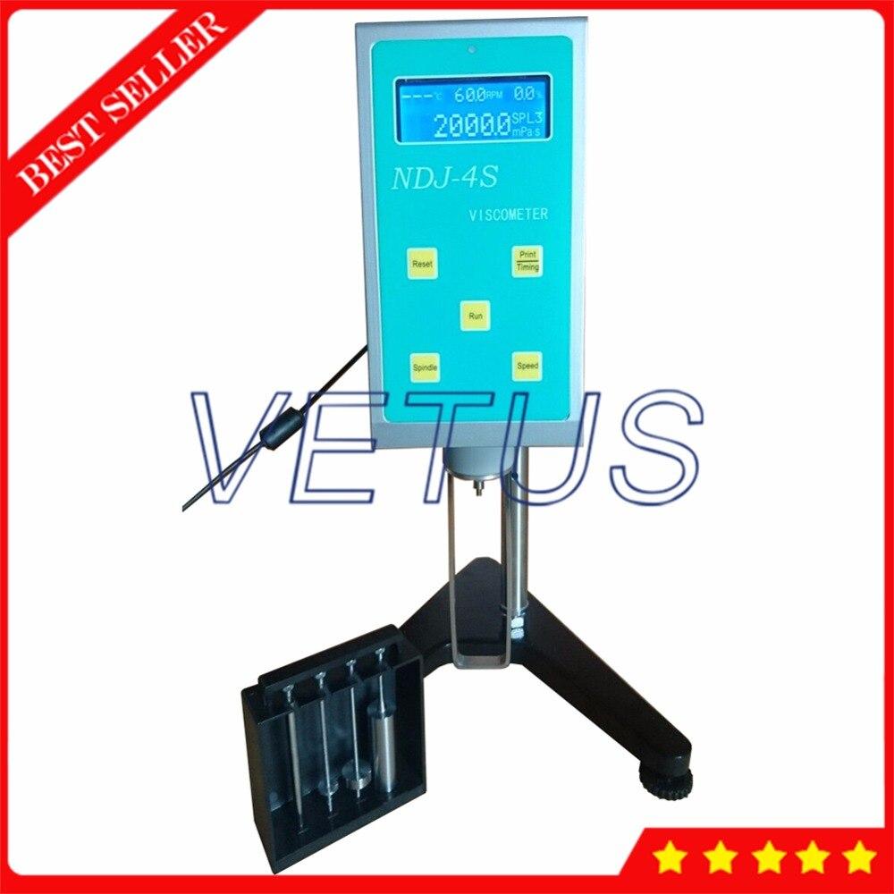 20 ~ 2000000mPa. s Rotary Viscosímetro Display LCD Noite Visual NDJ-4S Viscosidade Tester Medidor com Sonda De Temperatura RTD