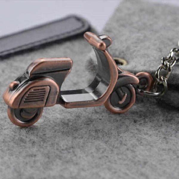 Antiek Brons Vergulde Vespa Motorbike Sleutelhanger Persoonlijkheid Motorfiets Sleutelhanger Voor Dames P