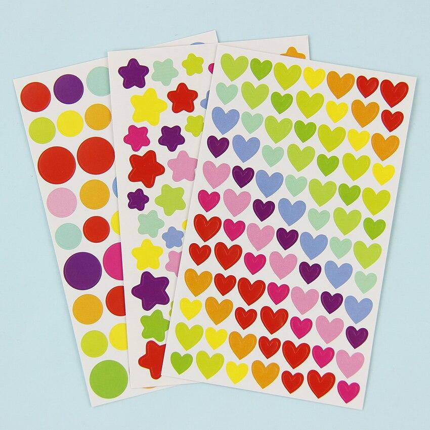 6 листов/набор красочные милые любовь сердце точка пятиконечная звезда украшения Скрапбукинг Бумага наклейки канцелярские