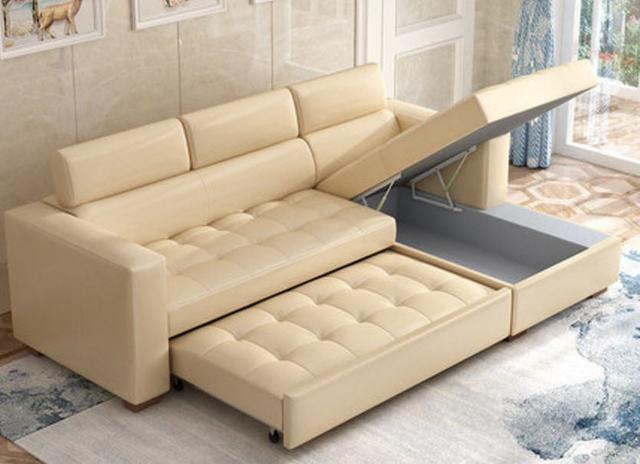 Leather Sofa Bed w/ Storage 6