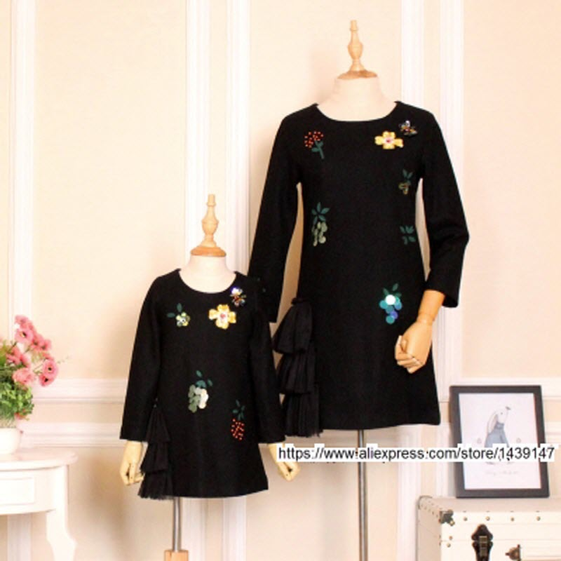 Children clothing Mother and Daughter Black Dresses ,2-10 years old Child baby Girl Clothes , Women plus Large size increase 4XL children clothing mother daughter winter coat cotton jacket pink 2 10 years old child baby girl clothes women large size 4xl