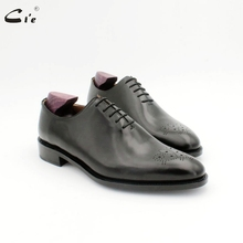 Cie ラウンドつま先メダリオン全体カット固体黒人男性靴本物のフルグレインカーフレ革作業靴オックスフォード OX724