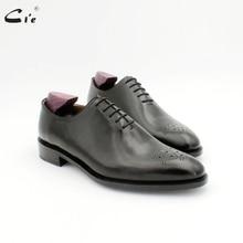 Cie جولة تو ميدالية كامل قطع الصلبة الأسود الرجال فستان حذاء حقيقي كامل الحبوب العجل جلد الرجال الجلود العمل حذاء أكسفورد OX724