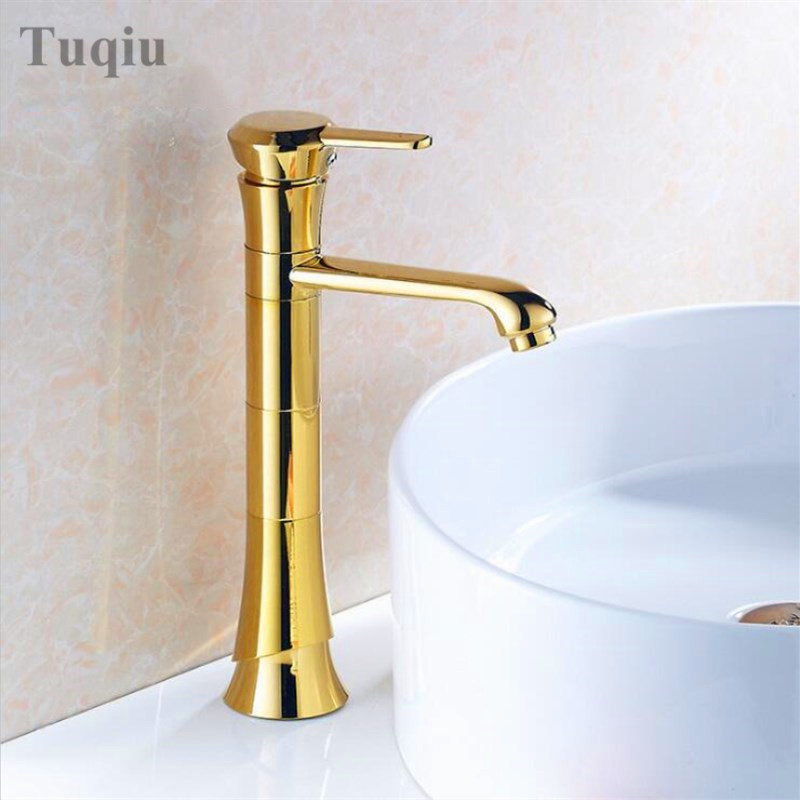 Free Shipping High Quality Golden Brass Basin Faucet Hot and Cold Bathroom Faucet Sink Faucet Basin Mixer Tap Deck Mounted free shipping high quality chrome finished brass in wall bathroom basin faucet brief sink faucet bf019