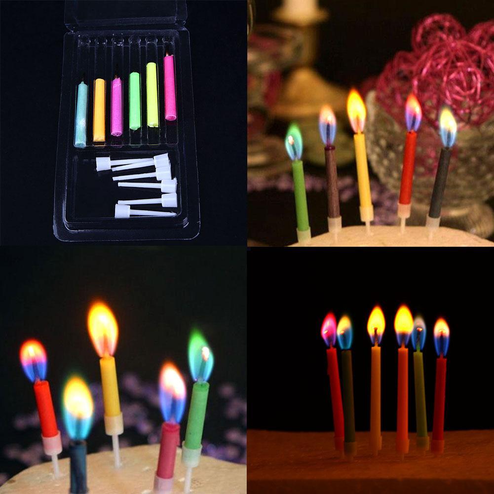 6 unids/lote coloreado cumpleaños Velas seguro vela llamas fiesta ...