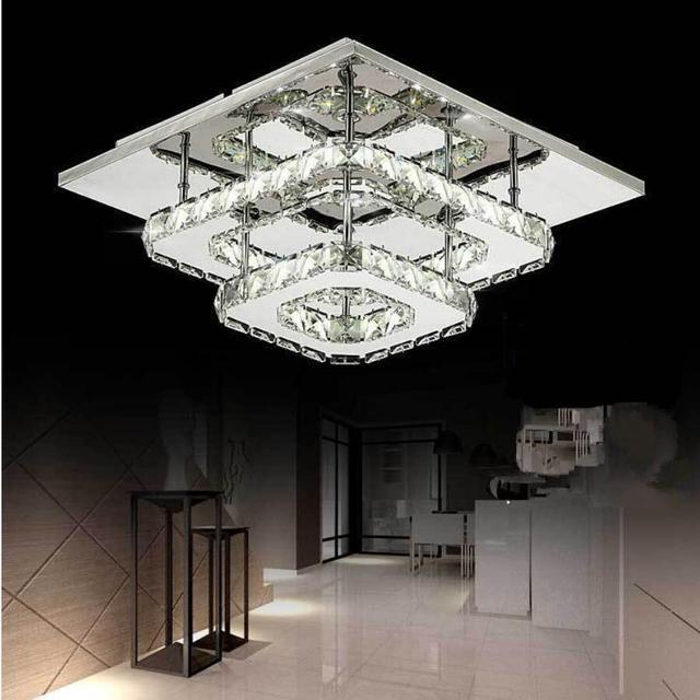 US $58.49 35% OFF|Neue doppel kristall deckenleuchte wohnzimmer led lampen  High power 36 Watt führte Deckenleuchten edelstahl led glanz ...