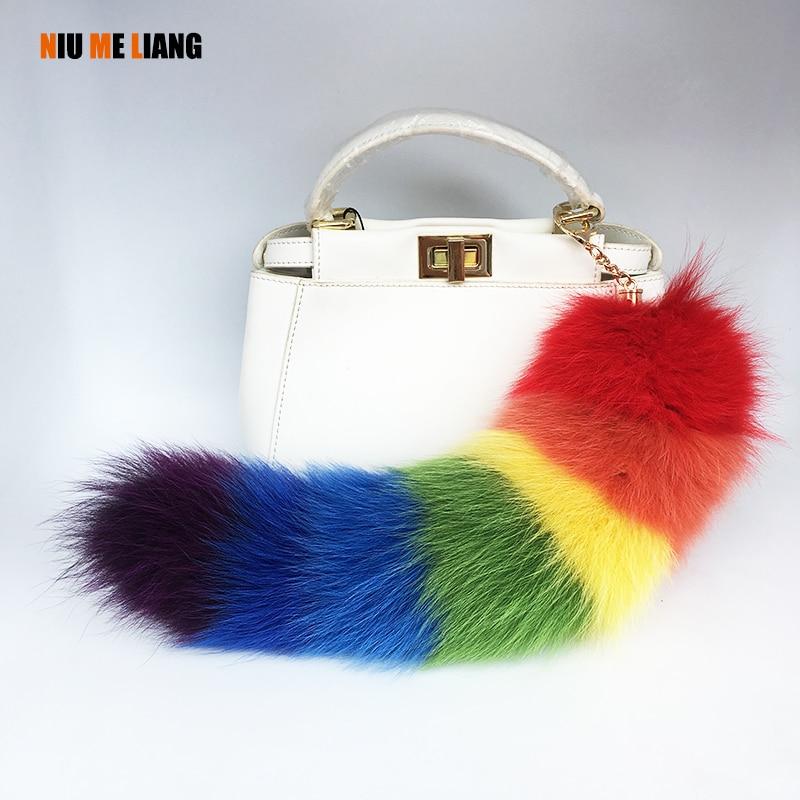 Rainbow Color Fur Tails 100% Natural Fur fox tail keychains fur Tassel Car key ring Women bag charms fox fur tail key chain A19 все цены