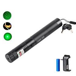 Зеленая лазерная указка, мощная лазерная ручка 303, высокомощная лазерная указка 532нм 5 мВт, регулируемая горящая спичка с перезаряжаемой бат...