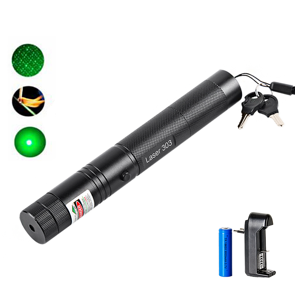 Láser verde puntero láser poderoso pluma 303 de alta potencia de láser 532nm 5 mW ajustable quemando encuentro con batería recargable 18650