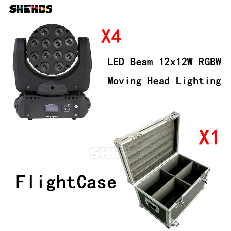 4pcs/lot With Flight Case LED Beam Moving Head Light 12x12W RGBW 9/16 Channels With DMX Cables Contorller DJ Party Club Lights
