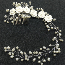 Pearl Flower Wedding Bridal Hair Combs Tiaras For Bride Women Party Head chain Decorations Wedding Bride