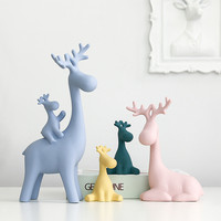 Nordic Crafts Color Ceramic Deer Family Statue Decoration Wine Cabinet Cartoon Home Decorations Creative Gifts Elk Ornaments