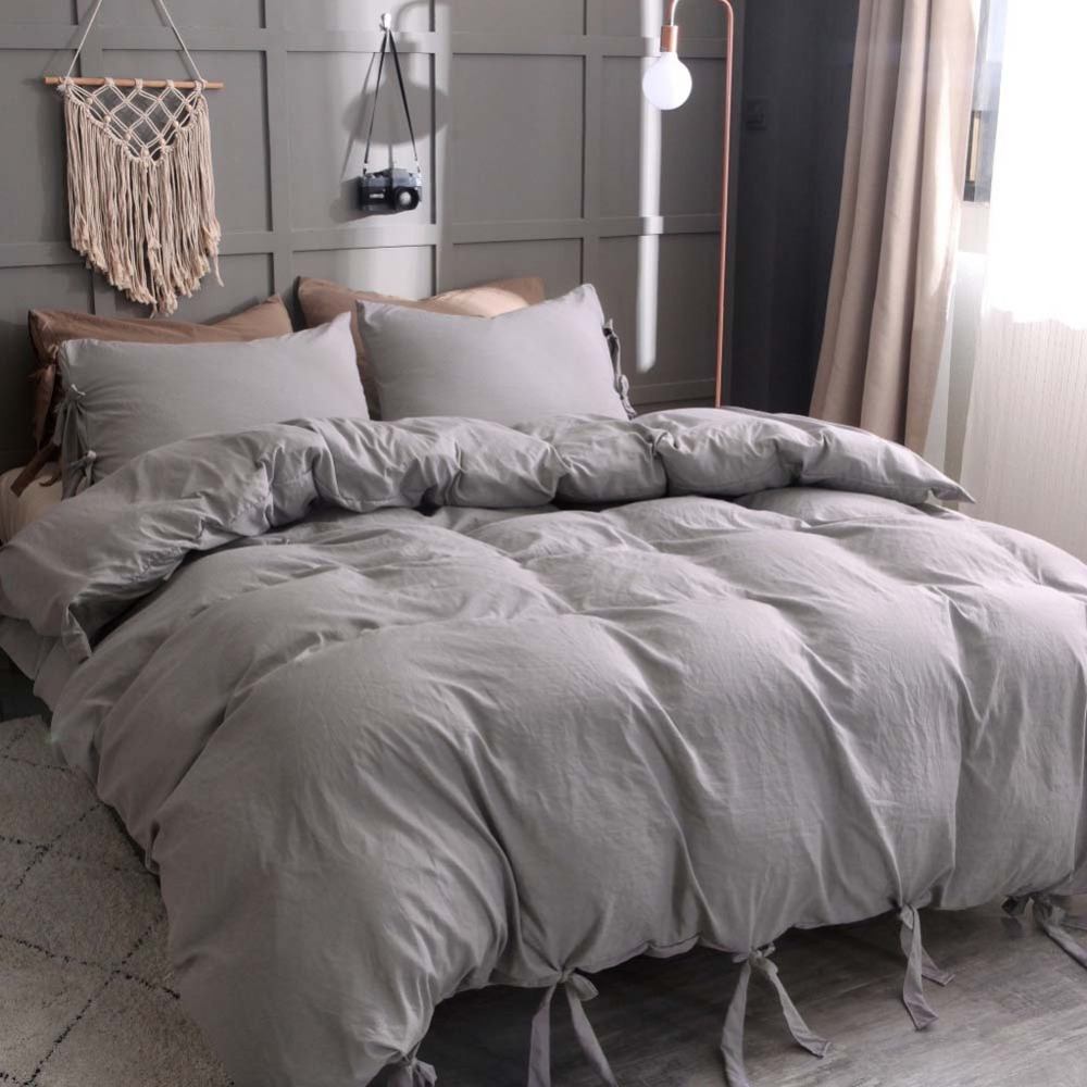 Lace Up Washed Cotton Duvet Cover Pillowcases Solid Printing Skin-Friendly Microfiber Bedding Sets Simplicity Home Textile
