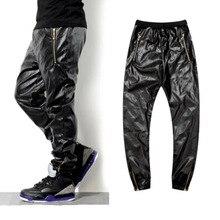 Хит, высокое качество, искусственная кожа, брюки в стиле хип-хоп, мужские, для досуга, простые, черные, Аллигатор, искусственная кожа, куртка, брюки